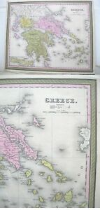 Vintage Map Greece C 1850 Mitchell Colored