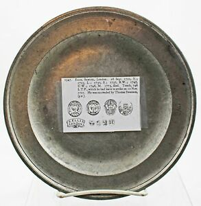 18c English Pewter Plate 2 Samuel Ellis