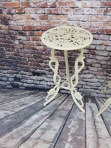 Antique Victorian White Cast Iron Ornate Plant Stand W Butterfly Top Design