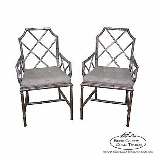 Mid Century Pair Of Chinese Chippendale Italian Silver Gilt Metal Armchairs A