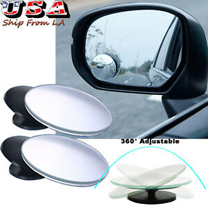 2 Pcs 360 Adjustable Rearview Blind Spot Convex Mirror For All Suv Truck Cars