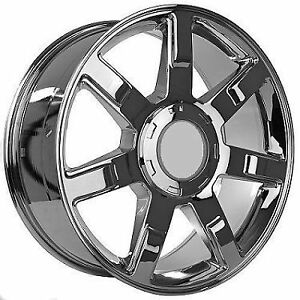 22 Chrome 7 Spoke Factory Style Cadillac Escalade Wheels Rims New 5309 W Caps