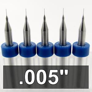 005 Carbide Drill Bits Five Pieces 1 8 Shaft Cnc Pcb Model Hobby R s