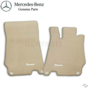 For Mercedes R230 Sl500 Sl600 Pair Of Floor Mats Stone Silver Genuine Q6680511