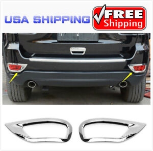 Fit 2011 19 Jeep Grand Cherokee Chrome Rear Bumper Reflector Fog Lamp Cover Trim