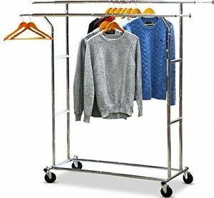Garment Rail Rack Double Clothing Hanger Organizer Commercial Wheeled Closet