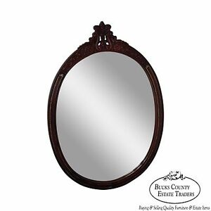 Carved Mahogany Tooled Leather Oval Wall Mirror Circa 1950s