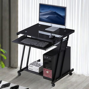 Computer Desk Home Office Laptop Pc Table Workstation With 4 Wheels