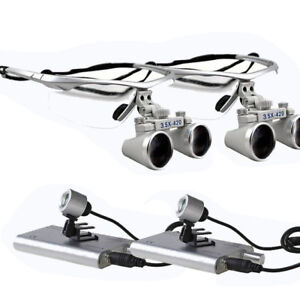 2pc Led Headlight Lamp dental Surgical Medical Binocular Loupes 3 5x420mm Silver