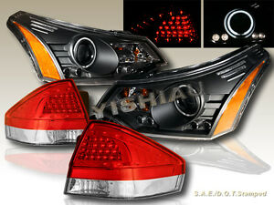 2008 2011 Ford Focus Projector Headlights Led Ccfl Halo tail Lights Led Red clr