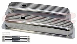 Polished Aluminum Fully Finned Short Valve Covers For 87 97 Chevy Sb 5 0l 5 7l