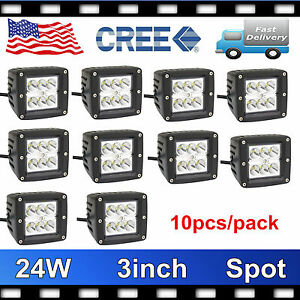 10x 3inch 24w Square Led Spot Cube Work Light Pods Truck Offroad Suv Trailer