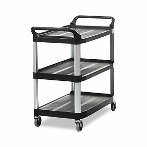 Rubbermaid Commercial 409100 Bla Xtra Service And Utility Cart 3 shelf New