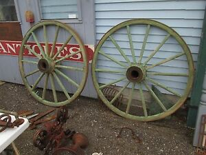 Pair Massive 56 Antique Wagon Wheels