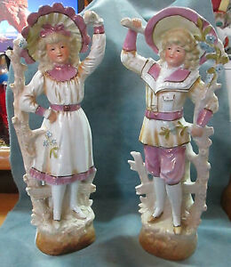 Antique 11 3 4 High Glazed Bisque Signed Pair Male Female Figurines