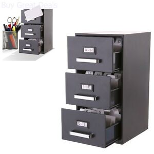 3 drawer Mini Filing Cabinet Storage Office Home Organization Tool 9 hx 6 dx 5 w