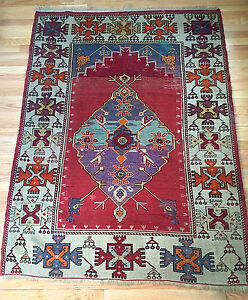 Antique Turkish Kula Tribal Prayer Rug From The 1940s Unique Hard To Find