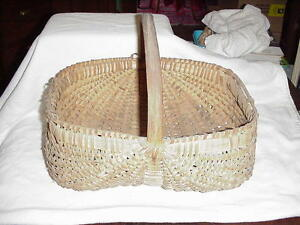 Very Old Antique Double Buttocks Primitive Splint Oak Egg Gathering Basket
