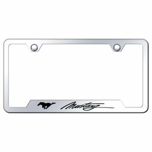 Ford Mustang Script Black Stainless Steel License Plate Frame