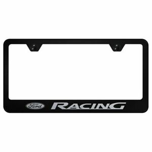 Ford Racing Logo License Plate Standard Frame Black Powder Stainless Steel