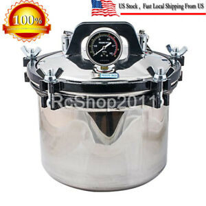 8l Autoclave Dental Stainless Steel Pressure Steam Sterilizer Dual Heating Pot
