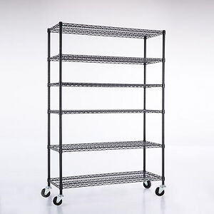 82 x48 x18 heavy Duty Chrome 6 Tier Steel Wire Shelving Rack Shelf Adjustable