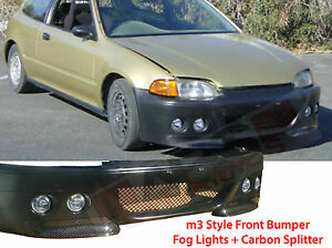 1992 95 Honda Civic 2 3dr M3 Style Front Bumper W Fog Light Carbon Splitter