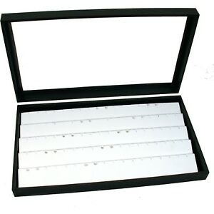 Jewelry Box Display Case Holds 45 Pairs Of Earrings White New