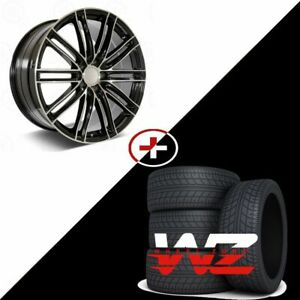 22 1350 Style Machined Black Wheels W Tires Fits Porsche Cayenne