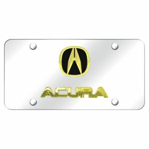 Acura Logo Gold On Chrome Stainless Steel Standard Novelty Front License Plate