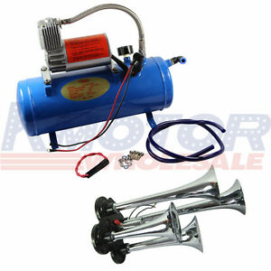 New Chrome 6 Liters Air Compressor With 4 trumpet 150db Truck Train Air Horn Kit