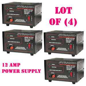Lot Of 4 Pyramid Ps14kx 12 amp Regulated Power Supply 115v ac 60hz 270w
