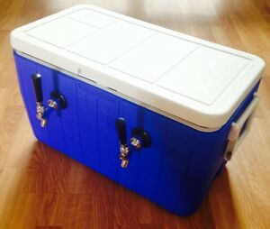 Portable Kegerator Beer Jockey Box Tap Keg Double Faucet Draw 50 Coil Cooler