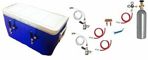 Kegerator Beer Jockey Box Keg Double Faucet Draw 50 Coil Cooler Full Kit