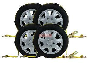 4 2 X9 Over The Tire Car Hauler Truck Trailer Auto Tie Down Ratchet Straps