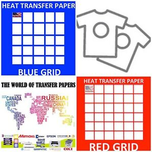Inkjet T Shirt Heat Transfer Paper Combo 100 Sh Each Dark Red Grid 8 5x11