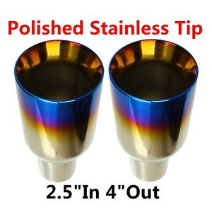 2x 2 5 In 4 Out Blue Burnt Exhaust Duo Layer Straight Tip Polished Stainless