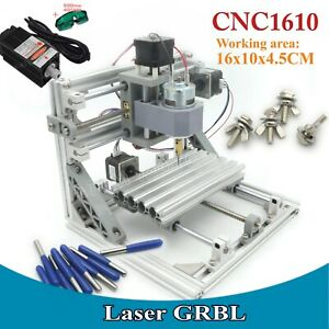 3 Axis 1610 Diy Mini Grbl Control Cnc Milling Machine Wood Router 0 5w Laser Kit