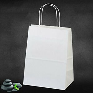 100 Pcs Wholesale White Kraft Paper Shopping Bags Gift Retail Bag Diy 8x4 75x10