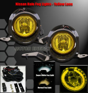 Bumper Halo Fog Light Kit W Switch Yellow For 01 04 Frontier 00 03 Sentra Maxima