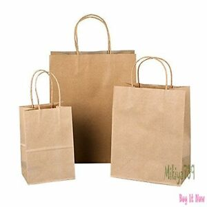150pc Wholesale Brown Kraft Paper Bags Lot 8 10 13 Retail Shopping Gift Bags