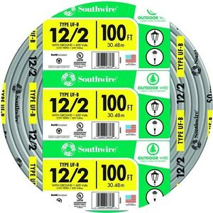 Southwire 100 Ft 12 2 Gray Solid Cu Uf b W g Cable Electrical Building Wiring