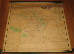 Antique 1873 Map Of The Village Of Claremont New Hampshire Sanford Everts Map