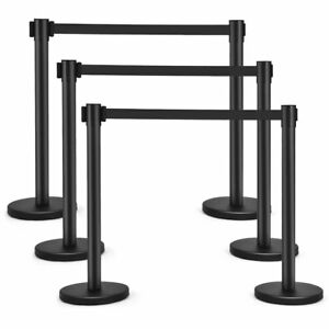 6pcs Stanchion Posts Queue Pole Retractable Belt Crowd Control Barrier Theater