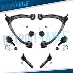2 Upper Control Arm W ball Joint Kit Lower Ball Joints Outer Tie Rod Set