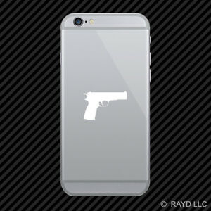 2x Browning P35 Hi power Cell Phone Sticker Mobile Gun Pistol Many Colors