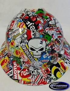 Racing Stickerbomb Pattern Full Brim New Custom Msa V gard Hard Hat W fastrac