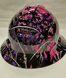 Muddy Girl Camo Pattern Full Brim New Custom Msa V Gard Hard Hat