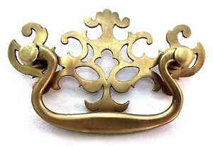 Brass Antique Hardware Vintage Pierced Back Chippendale Drawer Pull 3 Center