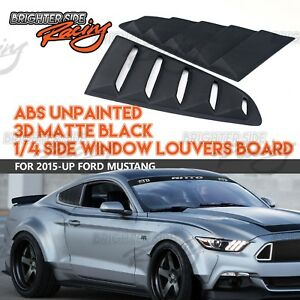 Made For 2015 Up Ford Mustang Side Window Louvers American Muscles Matte Black